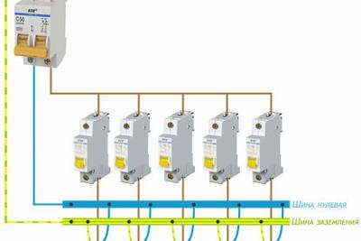 Подключение автоматических выключателей защиты