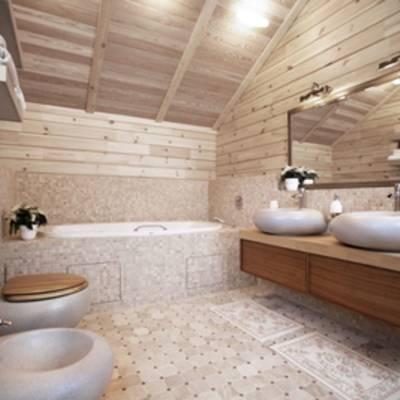 Как выполняется отделка ванной комнаты в деревянном доме?
