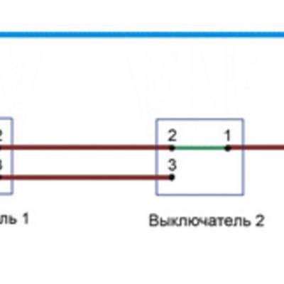 Проходной выключатель - схема подключения